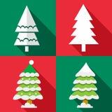 Icônes d'arbre de Noël de vecteur réglées Photos libres de droits