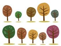 Icônes d'arbres d'automne sur le blanc Photos libres de droits