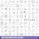 100 icônes d'archéologie réglées, style d'ensemble Photographie stock