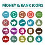 Icônes d'argent et de banque Images libres de droits