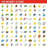 100 icônes d'argent réglées, style 3d isométrique Images libres de droits