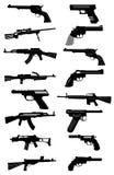 Icônes d'armes à feu réglées Photos stock