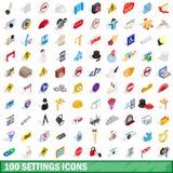 100 icônes d'arrangements réglées, style 3d isométrique