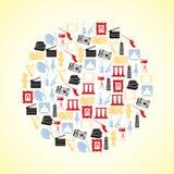 Icônes d'art de couleur en cercle illustration de vecteur