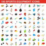 100 icônes d'article de sport réglées, style 3d isométrique Image libre de droits