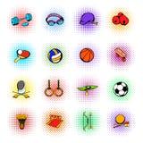 Icônes d'article de sport réglées, style de bandes dessinées Photo libre de droits