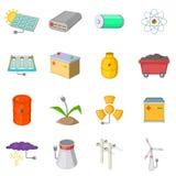 Icônes d'articles de sources d'énergie réglées, style de bande dessinée Photographie stock libre de droits