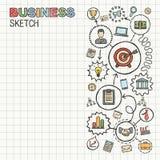 Icônes d'aspiration de main d'affaires sur le papier Photo stock