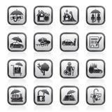 Icônes d'assurance et de risque Image stock