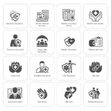 Icônes d'assurance et de services médicaux réglées Images stock