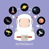 Icônes d'astronaute et d'espace Photo stock