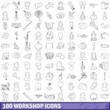 100 icônes d'atelier réglées, style d'ensemble illustration libre de droits