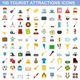 100 icônes d'attraction touristique réglées, style plat Photographie stock libre de droits