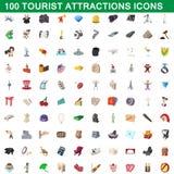 100 icônes d'attractions touristiques réglées, style de bande dessinée Photos libres de droits