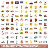 100 icônes d'attractions touristiques réglées, style plat Photo libre de droits