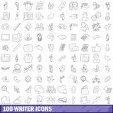 100 icônes d'auteur réglées, style d'ensemble Images stock