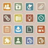 Icônes d'autocollant de bureau réglées. Images stock