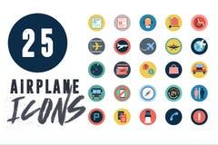 25 icônes d'avion réglées Photos libres de droits