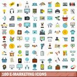 100 icônes d'e-marketing réglées, style plat Photographie stock