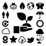 Icônes d'Eco réglées. Images libres de droits