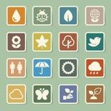 Icônes d'Eco réglées. Image libre de droits