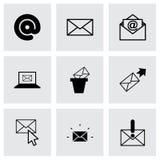Icônes d'email de noir de vecteur réglées Photographie stock libre de droits