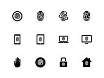 Icônes d'empreinte digitale sur le fond blanc. Image libre de droits