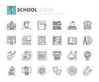 Icônes d'ensemble au sujet d'école Photo libre de droits
