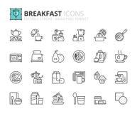 Icônes d'ensemble au sujet de petit déjeuner Photographie stock