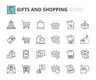 Icônes d'ensemble au sujet des cadeaux et des achats Image stock