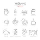 Icônes d'ensemble de déclencheurs de migraine réglées Images libres de droits
