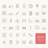 Icônes d'ensemble de meubles Photographie stock libre de droits