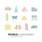Icônes d'ensemble de points de repère du monde réglées illustration stock