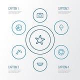 Icônes d'ensemble de Sun réglées Collection d'étoile de mer, de sauveteur, d'animal et d'autres éléments Inclut également des sym Photo libre de droits