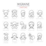 Icônes d'ensemble de symptômes de migraine réglées Photographie stock