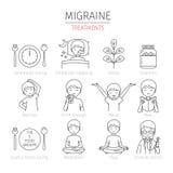 Icônes d'ensemble de traitement de migraine réglées Images stock