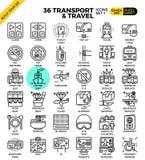 Icônes d'ensemble de transport et de voyage Photos libres de droits