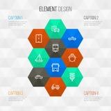 Icônes d'ensemble de transport réglées Collection de route Photos libres de droits