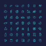Icônes d'ensemble de vecteur d'aliments de préparation rapide réglées cuisine Image stock