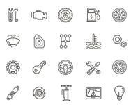 Icônes d'ensemble Pièces et services de véhicule Images stock