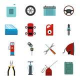 Icônes d'entretien de service de voiture réglées Images stock