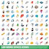 100 icônes d'espace de travail réglées, style 3d isométrique Photo libre de droits
