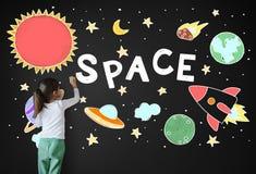 Icônes d'espace extra-atmosphérique dessinant le concept de graphiques photos stock