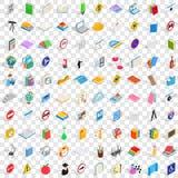 100 icônes d'examen réglées, style 3d isométrique Image stock