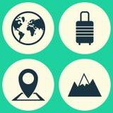 Icônes d'exploration réglées Collection de bâti, de valise, d'emplacement et d'autres éléments Inclut également des symboles tel  illustration de vecteur