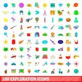 100 icônes d'exploration réglées, style de bande dessinée illustration libre de droits