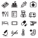 Icônes d'hôpital Photo stock
