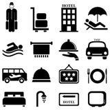 Icônes d'hôtel et d'hospitalité Images libres de droits