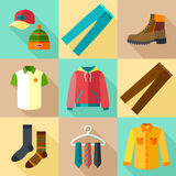 Icônes d'habillement réglées Image stock