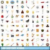 100 icônes d'histoire réglées, style de bande dessinée Image stock